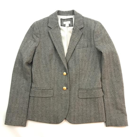 J. Crew Jackets & Blazers - J. Crew Schoolboy Gray Herringbone Blazer Sz 0